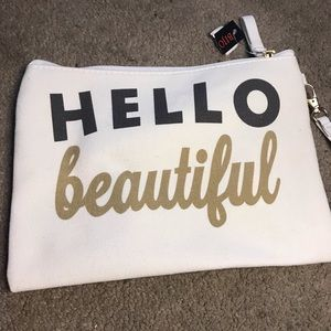 Other - Hello Beautiful Canvas Makeup Bag